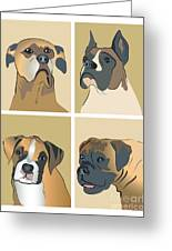 Boxer Dogs 4 Up Greeting Card by Robyn Saunders