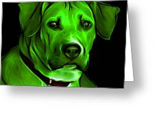 Boxer Pitbull Mix Pop Art - Green Greeting Card by James Ahn