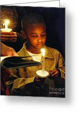 Boy By Candlelight Greeting Card by Jim Wright