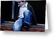 Boy in Window Greeting Card by Kelly Hazel