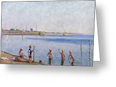 Boys At Water's Edge Greeting Card by Johan Rohde