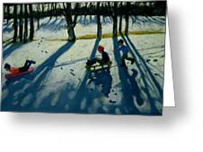Boys Sledging Greeting Card by Andrew Macara