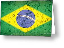 Brazil Flag Vintage Greeting Card by Jane Rix