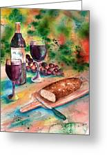 Bread And Wine Greeting Card by Sharon Mick