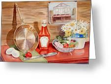 Breakfast At Copper Skillet Greeting Card by Irina Sztukowski