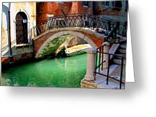 Bridge In Venice Greeting Card by Barbara Walsh