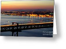 Bridge Over Tagus Greeting Card by Carlos Caetano