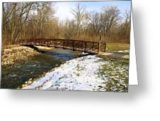 Bridge Over The Creek In Winter Greeting Card by Mike Stanfield