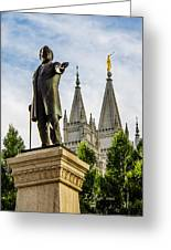 Brigham's Slc Temple Greeting Card by La Rae  Roberts