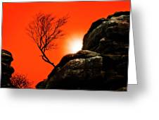 Brimham Sunset Greeting Card by Meirion Matthias