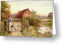 Bringing Home The Sheep Greeting Card by Ernest Walbourn