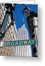 Broadway Sign And Empire State Building Greeting Card by Axiom Photographic