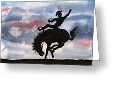 Bronco Busting Greeting Card by Sharon Mick