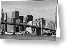 Brooklyn Bridge And Skyline Greeting Card by Holger Ostwald
