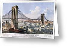 Brooklyn Bridge Greeting Card by Charles  shoup