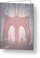 Brooklyn Bridge Red Greeting Card by Naxart Studio