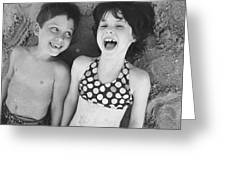 Brother And Sister On Beach Greeting Card by Michelle Quance
