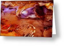 Brown Purple and Bronze  Greeting Card by Alexandra Jordankova