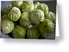 Brussel Sprouts Greeting Card by Gwyn Newcombe