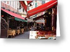 Brussels Restaurant Street - Rue De Bouchers Greeting Card by Carol Groenen