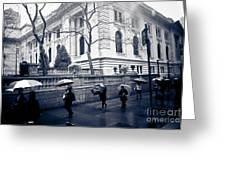 Bryant Park Umbrella Runway Greeting Card by Chandra  Dee