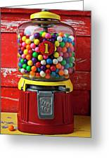 Bubblegum Machine And Gum Greeting Card by Garry Gay