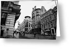 Buchanan Street Shopping Area On A Cold Wet Day In Glasgow Scotland Uk Greeting Card by Joe Fox