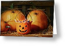 Bucket Filled With Halloween Candy Greeting Card by Sandra Cunningham