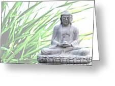 Buddha Grass Greeting Card by Hannes Cmarits