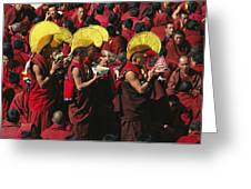 Buddist Monks At Nechung Monastery Greeting Card by Maria Stenzel
