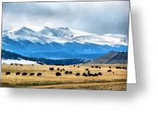Buffalo Herd Painterly Greeting Card by Ernie Echols