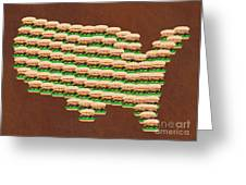 Burger Town Usa Map Brown Greeting Card by Andee Design
