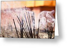 Burning Incense Greeting Card by Inti St. Clair