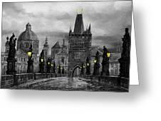 Bw Prague Charles Bridge 04 Greeting Card by Yuriy  Shevchuk