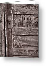Cabin Door Bw Greeting Card by Steve Gadomski