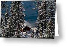 Cabin In The Woods Greeting Card by Mitch Shindelbower