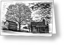 Cabin Under Buttermilk Skies Vignette Greeting Card by Dan Carmichael
