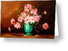Cactus Dahlias Greeting Card by Barbara Pirkle