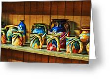 Calico Pottery Greeting Card by Brenda Bryant