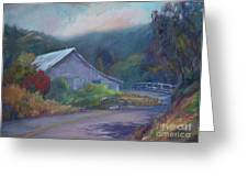 California Barn ... Around The Bend Greeting Card by Deirdre Shibano