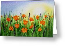 California Poppies Field Greeting Card by Irina Sztukowski
