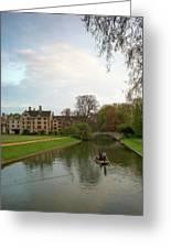Cambridge Clare College Stream And Boat Greeting Card by Douglas Barnett