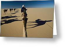 Camel Caravan And Their Shadows Greeting Card by Carsten Peter