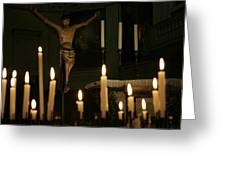 Candles And Saint Inside A Cathedral Greeting Card by Gina Martin