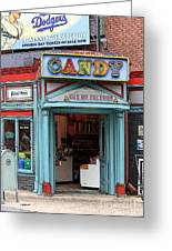 Candy Store Cartoon Greeting Card by Sophie Vigneault