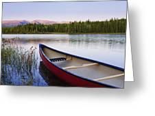 Canoe And Boya Lake At Sunset, Boya Greeting Card by Yves Marcoux