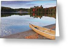Canoe On A Shore Autumn Nature Scenery Greeting Card by Oleksiy Maksymenko