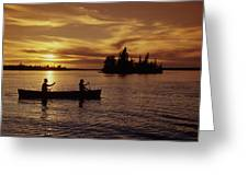 Canoeing At Sunset, Otter Falls Greeting Card by Dave Reede