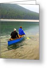 Canoeing Glacier Park Greeting Card by Marty Koch