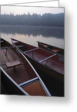 Canoes On Still Water Greeting Card by Natural Selection John Reddy